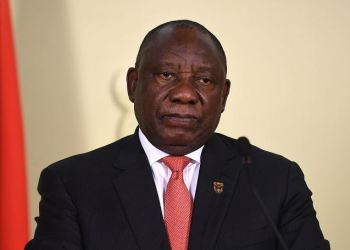 FILE PHOTO: President Cyril Ramaphosa addresses the nation following a special cabinet meeting on matters relating to the coronavirus epidemic at the Union Building on March 15, 2020 in Pretoria, South Africa. (Photo by Felix Dlangamandla/Beeld/Gallo Images via Getty Images)