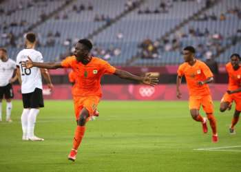 Cote d'Ivoire celebrating qualification for the second round of Tokyo 2020 men's football. Photo/Completesport