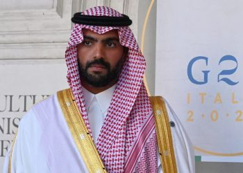 Minister of Culture of Saudi Arabia, Badr bin Abdullah al Saud, poses for photographers as he arrives for a roundtable of the G20 Culture Ministers meeting at the Palazzo Barberini Museum, on July 30, 2021 in Rome. (Photo by Andreas SOLARO / AFP)