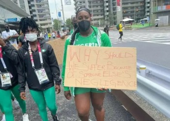 Disqualified Nigerian Athletes Protest In Tokyo