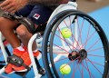 TOKYO, JAPAN - AUGUST 22: Detail shot of the spokes of Carlos Anker's wheelchair during a training session ahead of the Tokyo 2020 Paralympic Games at Ariake Tennis Park on August 22, 2021 in Tokyo, Japan. (Photo by Carmen Mandato/Getty Images)