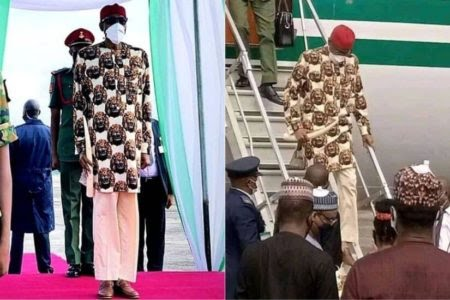 'Your Trouser Looks Like What You Did To Nigerian Economy' — Reactions Trail Buhari's Outfit To Imo