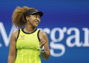 NEW YORK, NEW YORK - AUGUST 30: Naomi Osaka of Japan celebrates against Marie Bouzkova (not pictured) of the Czech Republic during their Women's Singles first round match on Day One of the 2021 US Open at the Billie Jean King National Tennis Center on August 30, 2021 in the Flushing neighborhood of the Queens borough of New York City. Sarah Stier/Getty Images/AFP (Photo by Sarah Stier / GETTY IMAGES NORTH AMERICA / Getty Images via AFP)