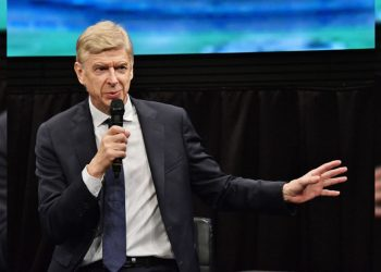 Arsene Wenger attends the lecture meeting at Yoshimoto Hall in Tokyo, Japan on October 24, 2019. No Use China. No Use Taiwan. No Use Korea. No Use Japan.