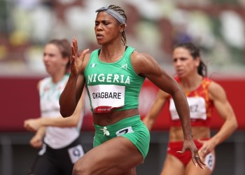 Blessing Okagbare of Team Nigeria competes during round one of the Women's 100m heats of the Tokyo 2020 Olympic Games. Photo: AFP