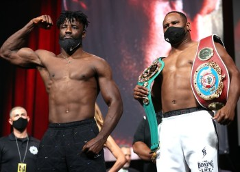 Efe Ajagba (L) and Frank Sanchez (R) pose during the weigh-in at MGM Grand Garden Arena on October 08, 2021 in Las Vegas, Nevada. Photo by AFP