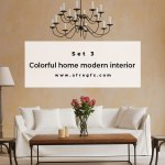 Colorful home modern interior Set 3 Stock Photo