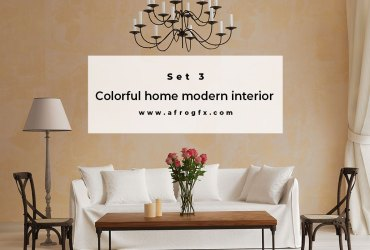 Colorful home modern interior Set 3 Stock Photo