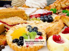 Dessert Collection Set 9 Stock Photo