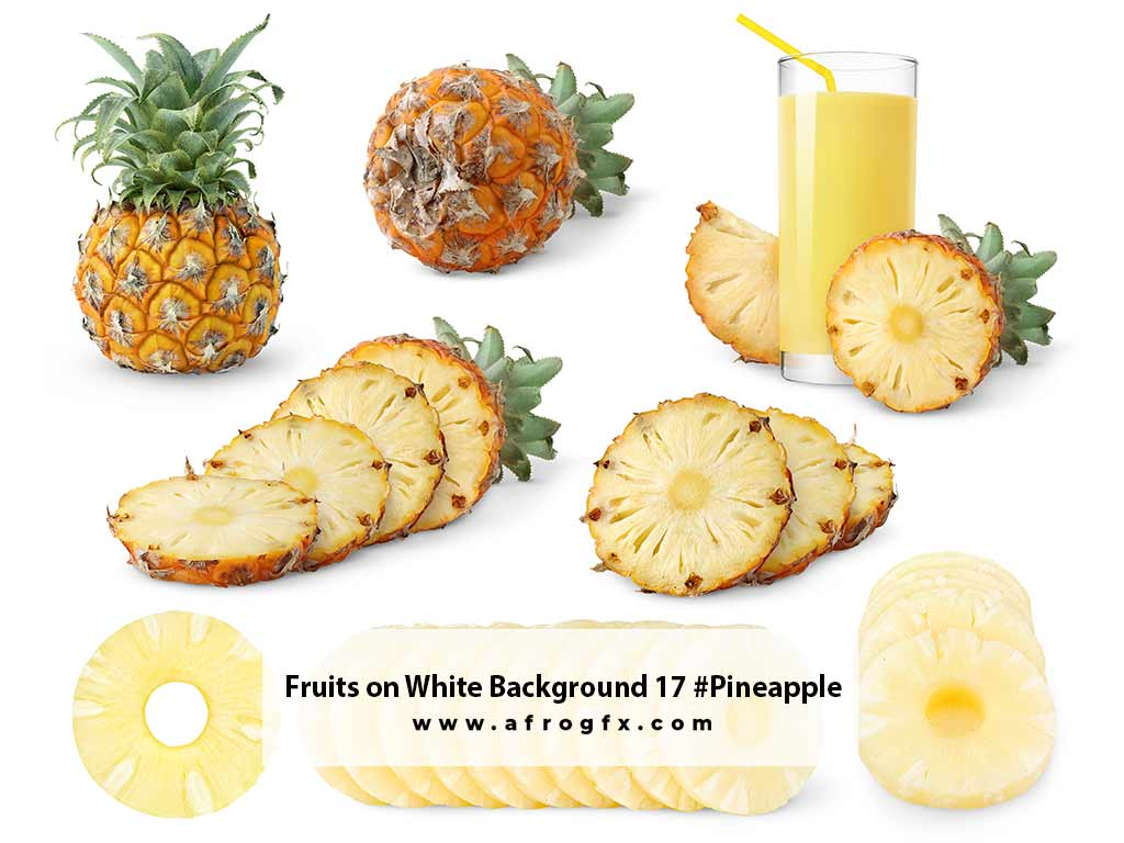 Fruits on White Background 17 #Pineapple