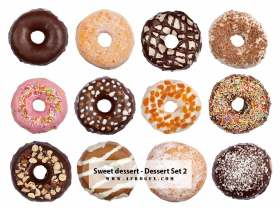 Sweet dessert - Donuts - Collection Set 2 Stock Photo