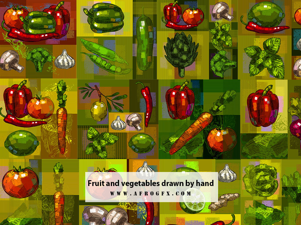 Fruit and vegetables drawn by hand