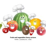 Fruits and vegetables funny cartoon