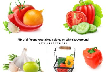 Mix of different vegetables isolated on white background