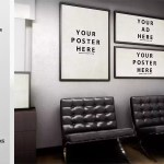 Poster frame in office free mockup psd