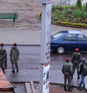 Gendarmes in Yaoundé's Independence Square this morning
