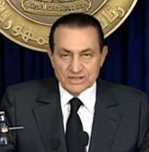 President Hosni Mubarak speaking on state TV on 10 February 2011