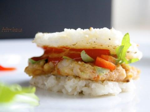 rice burger and shrimp patties