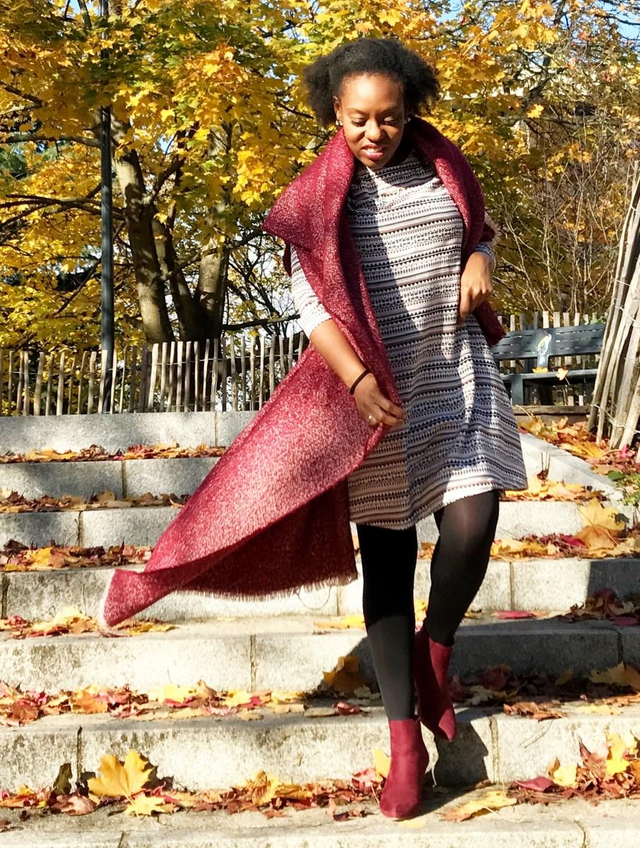 style-robe-fluide-hm-bottines-bordeaux-jsutfab-echarpe-laine-zara-look-du-jour-automne-2017-afrolifedechacha