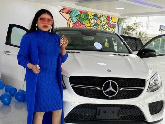 Bobrisky gifts himself a Mercedes Benz as a birthday present (photos/video)
