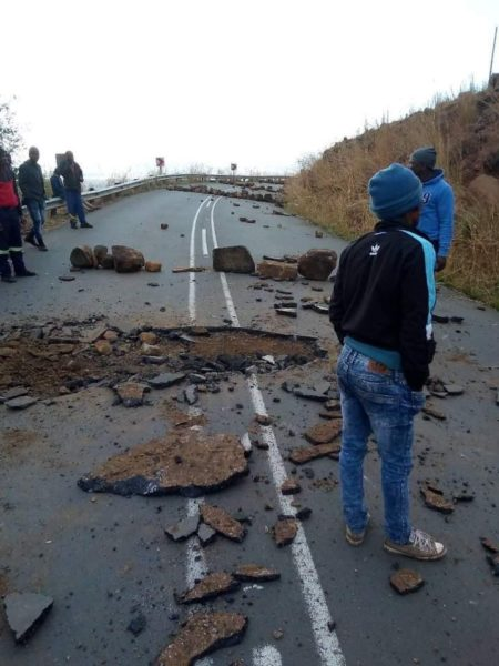 Road damaged by protesters in KZN over lack of water and electricity
