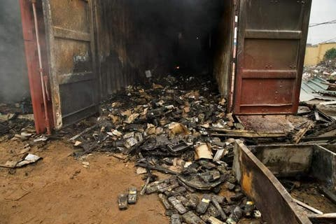 Pictures of over 5100 burnt card readers for Ondo Guber election surface