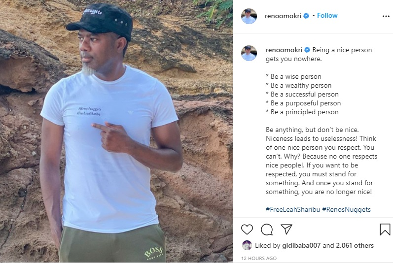 Being a nice person gets you nowhere, Reno Omokri says