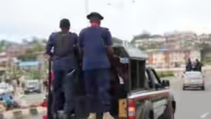 Depict of NSCDC officers in their van