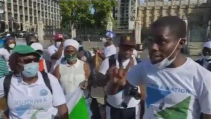 Oduduwa Republic: Yoruba group in UK stage protest as FG allegedly threatens Sunday Igboho