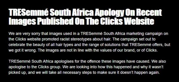 "TRESemmé South Africa apologizes for ""racist advert"" posted on Clicks website"