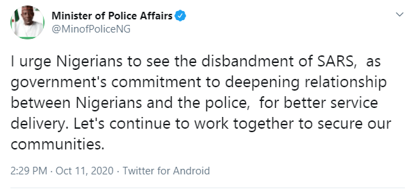 Nigeria's Minister of Police Affairs speaks on disbandment of SARS