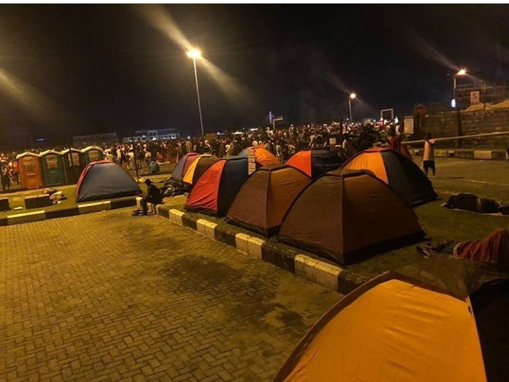 PHOTO: Camping tents set up for overnight #EndSARS protesters