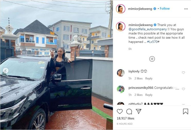 Actress, Mimi Orjiekwe gifts self brand new SUV as birthday gift