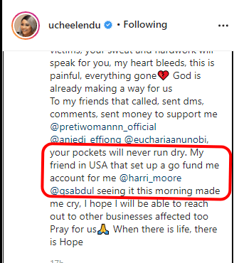 Actress Uche Elendu opens GoFundMe after her store was looted during the #ENDSARS Protest