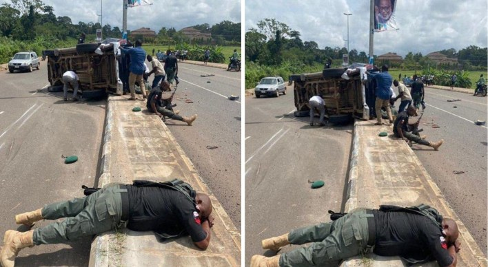 BREAKING: Two dead, 8 injured as Police Hilux van crashed in Ondo