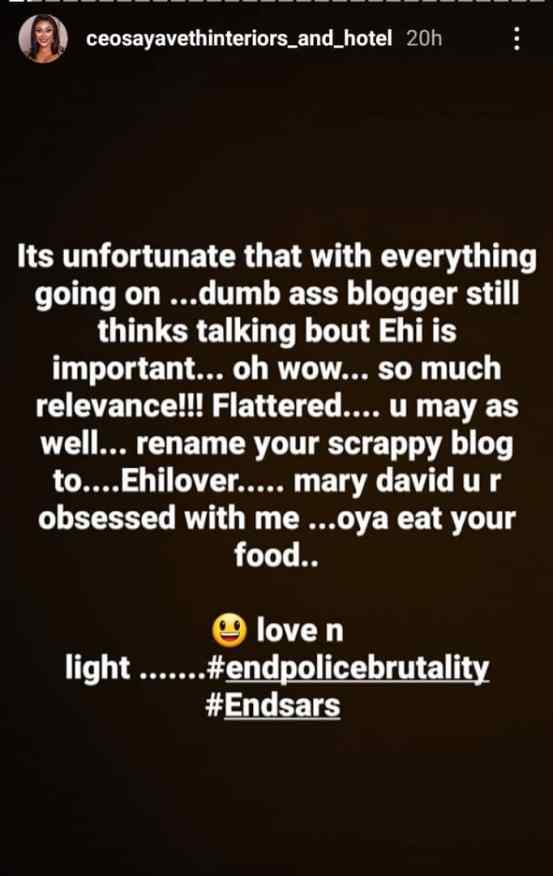 Ehi Ogbebor continues to pour encomium on her new lover, MC Oluomo