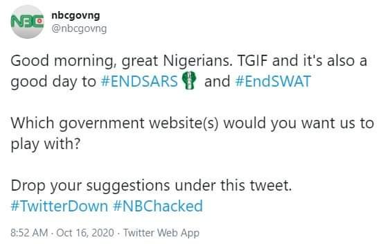 #EndSARS: Hackers Take Over Official Twitter Page of Nigeria's National Broadcasting Commission