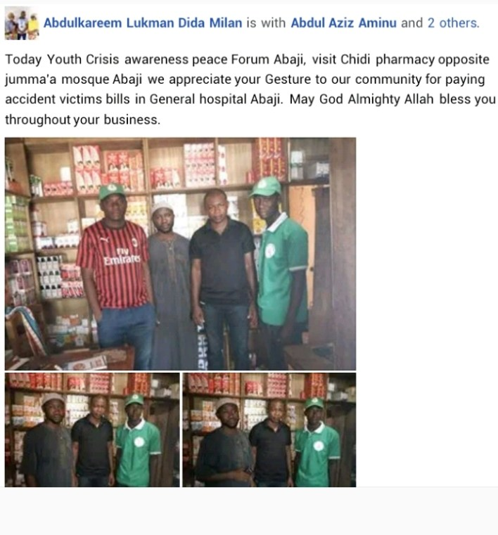 Muslim youths appreciate Igbo pharmacy owner who paid hospital bills of accident victims in Abuja