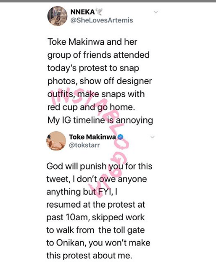 Toke Makinwa fights dirty with a follower who accused her of coming to show off at the #EndSars protest