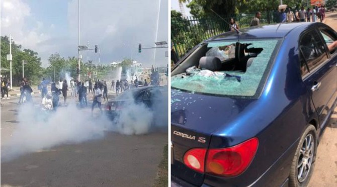 UPDATED: Armed thugs attack Abuja #EndSARS protesters, destroy cars