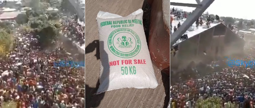 VIDEO: Mammoth Crowd Storm Warehouse, Cart Away 'Hidden' COVID-19 Palliatives In Bukuru, Plateau State