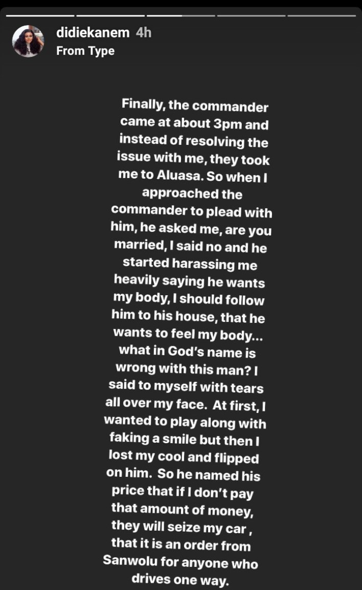 Actress Didi Ekanem shades EndSARS as she narrates how policemen allegedly harassed her sexually