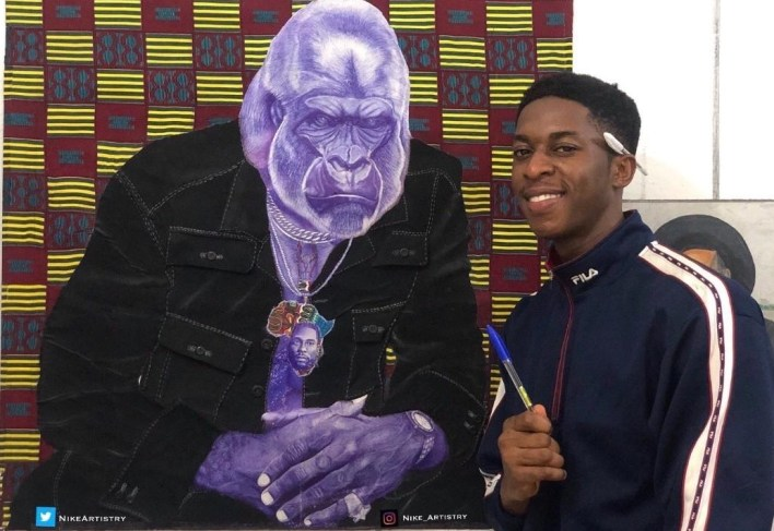 Burna Boy replies young artist who drew him as a gorilla