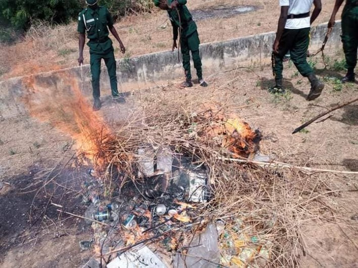 PHOTOS: Hisbah Destroys Over 300 Cans And Bottles Of Alcohol In Katsina
