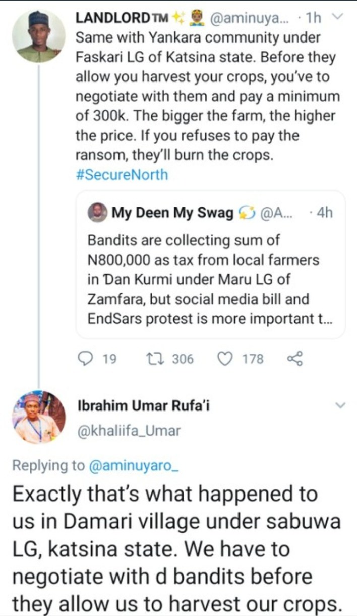 #SecureNorth: Bandits Allegedly Demand Harvest Fee From Farmer In Zamfara, Katsina Communities