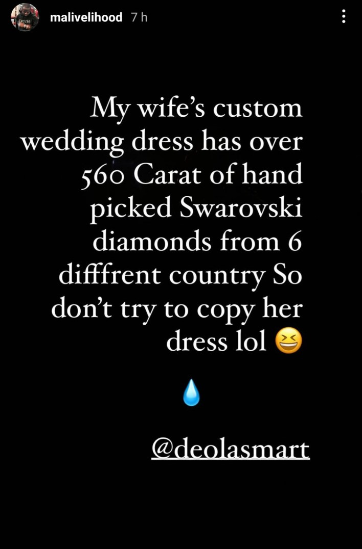 """My wife's wedding dress has over 560 Carat of Swarovski diamonds from different countries – Malivelihood"