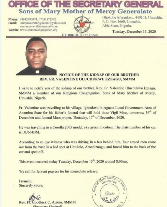 Catholic Priest Abducted En route To Father's Burial