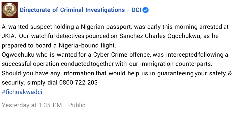 Nigerian cyber crime suspect arrested at Jomo Kenyatta International Airport