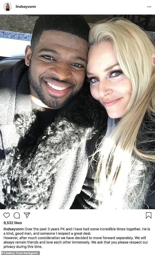 Former Olympian, Lindsey Vonn and fiance P.K. Subban call off engagement after three years together