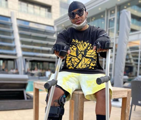 From crutches to wheelchair: Bonang Matheba and others urge Major League's Bandile to rest